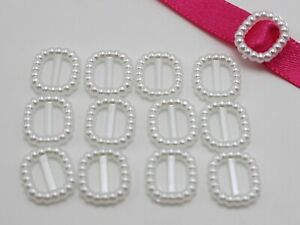 200 Pure White Pearl Square Buckle Invitation Ribbon Slider 12X11mm For Wedding