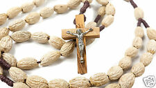 Natural Authentic Olive Wood Bone Beads Prayer Rosary Silver Plated Jesus Cross