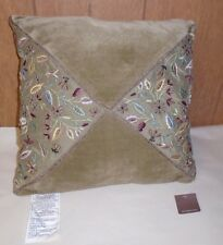 Anthropologie 14x14 Estella Garden Cushion Sea Green Velvet Embroidered Pillow