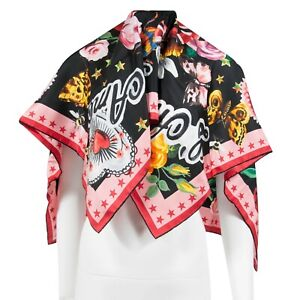 """Gucci 'L'Aveugle Par Amour"""" Silk Floral Snake Pink Red Green Scarf 90 cm X 90 cm"""