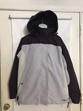 LL Bean Sz Large Regular 3 in 1 Purple Nylon Hooded With Removable Fleece Jacket