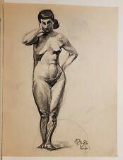 Dessin expressionniste Nu, Paris 1926 signé