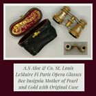 Antique A S  Aloe   Co Mother Of Pearl Opera Gold Glasses Binoculars Rare