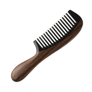 Premium Hair Comb Wooden Combs Wide Ebonywood & Horn Handcrafted Sturdy Smooth