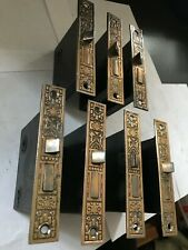 "7 Antique Arts Craft Eastlake Victorian Plated Steel 5 1/4"" Door Mortise Locks"