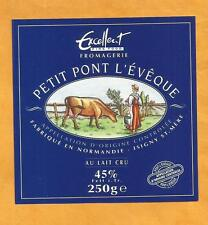 ETIQUETTE PETIT PONT L EVEQUE  ISIGNY SUR MER  VACHE COW  CALVADOS