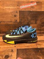 Nike KD VI GS Kids youth Shoes Black Volt Vivid Blue Dark Grey Size 5