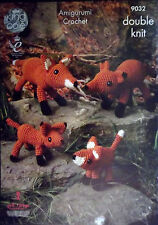 King Cole DK Crochet Toy pattern Fox family 4 sizes woodland animals  9032