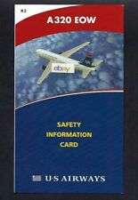 U S AIRWAYS AIRBUS A320 EOW SAFETY CARD 2010 LAST LIVERY R2