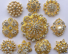 10 Large Assorted Gold Rhinestone Button Brooch Bouquet Pearl Crystal Hair Comb