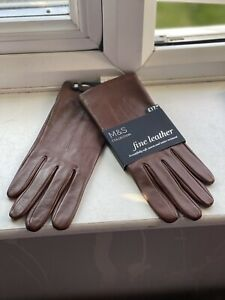 M&S Collection Fine All Top Leather Ladies Pair Gloves Tan Brown Size Medium New