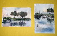 Original Landscape Art Watercolor Painting Boats Lake reflection Set unframed