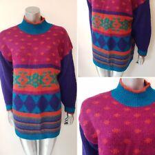 VINTAGE 1980S JUMPER DRESS SIZE 12/14 MOHAIR BOLD 1990S OVERSIZE