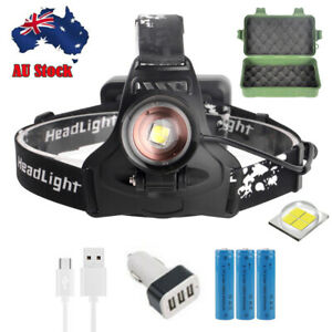 High Power 900000LM Zoom Headlamp Flashlight LED Rechargeable Head Torch 18650