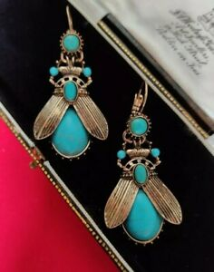 Art Deco Earrings Ancient Egypt Egyptian Insect Blue Turquoise Vintage Style