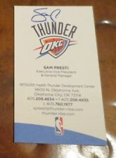 Sam Presti OKC Oklahoma City GM & EVP Thunder autographed signed business card