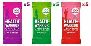 Health Warrior Chia Bars, Tropical Variety Pack, 15 Bars