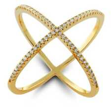 """18K Yellow Gold Over Sterling Silver Cubic Zirconia Criss-Cross Single """"X"""" Ring"""