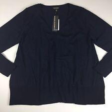 Banana Republic Womens Sweater Size XL Navy Blue Extra Fine Merino Wool Trapeze
