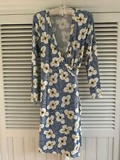 Boden Wrap Dress Blue With White And Yellow Flowers Long Sleeves Size 10 P UK