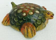 Paper Mache Tortoise Antique Old Hand Made Hand Painted Home Decorative Art
