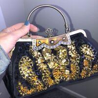 Vintage Look Large Beaded Evening Bag Kiss Lock Ornate Frame Gold on Black EUC