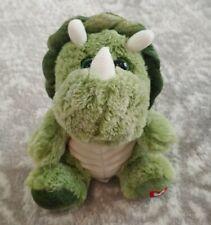 "Kellytoy Triceratops Dinosaur 7"" Green Dino Plush Glitter Eyes Heart Foot"