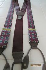 Ferrell Reed Suspender/Braces, Silk and leather, button on, adjustable, burgundy