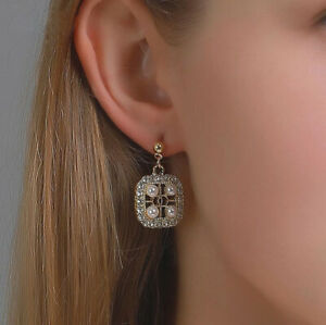 New Crystal Square Stone Pearl Stud Earrings Womens Girls Wedding Jewellery Gift