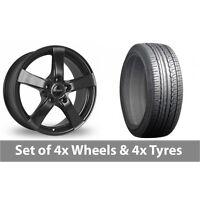 "4 x 16"" Dezent RE Black Alloy Wheel Rims and Tyres -  205/65/16"