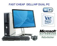 FULL DELL/HP DUAL CORE/AMD DESKTOP TOWER PC&TFT COMPUTER , WINDOWS 7 or 10 OFFER