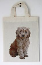 Small Cotton Bag Red Cockapoo Motif Party or Gift Bags Re-usable Size 21 by 26cm