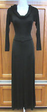 BCBG BLACK DRESS DRAPED COLLAR BELT BUCKLE POLY SPANDEX