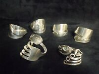 SET OF 6 UNIQUE VINTAGE HAND MADE SILVERPLATE FLATWARE NAPKIN RINGS