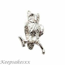 Sterling Silver OWL on branch flying wild bird NEW UK 3D Charm Charms