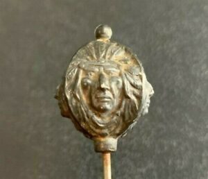 Antique Native American Indian Chief 4 sided Face Hatpin Hat Hair pin