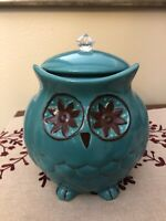 Pier 1 One Imports Chubby Owl Cookie Jar Canister, Stoneware, Hand Painted NICE!
