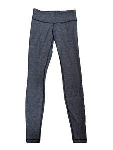 Lululemon Grey Full Length Leggings Size US 6 UK 10  Herringbone Print