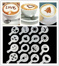16Pcs Coffee Barista Art Stencils Cake Duster Templates Coffee Tools Accessories