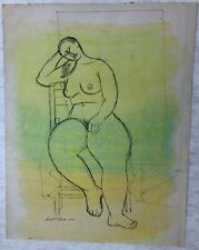 Modernist Nude Leaning on Chair Mixed Media Drawing-1954-August Mosca