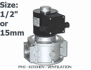 """Gas Solenoid Valve 15mm 1/2"""" for Gas Interlock System Shut Off Kitchen Canopy"""