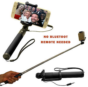 New Easy Wired Monopod Selfie Stick Telescopic for iPhone/Samsung/HTC/Sony Black
