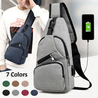 Canvas Men's Sling Chest Pack USB Charging Sports Crossbody Handbag Shoulder Bag