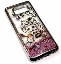 For Samsung Galaxy S8 CUTE SILVER OWL Star Flower Pink Glitter Liquid Water Case