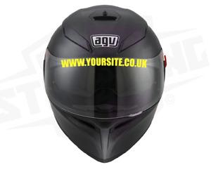 Helmet Visor Custom Text Sponsor Website Decals Stickers  - ANY COLOUR X 2