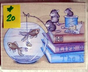 HOUSE MOUSE LG MOUNTED RUBBER STAMP - 2003 - NO CHEESE PLEASE - MINT # 20