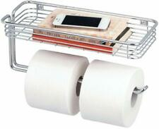 Mdesign Toilet Tissue Paper Holder And Multi-Purpose Shelf - Wall Mount Storage