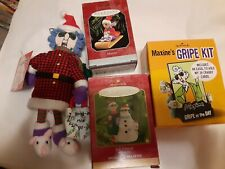 Lot of 4 Maxine Hallmark -Doll, Christmas Ornaments, Gripe Kit w/Box