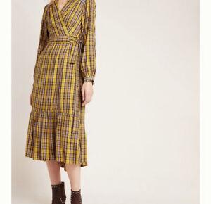 NEW Anthropologie Size M Dalton Wrap Tartan Plaid Mustard Midi Dress $180