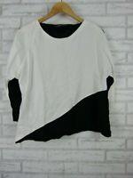 Zara woman top / blouse ¾ sleeve white black print size L, 14